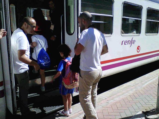 Con los niños en el tren