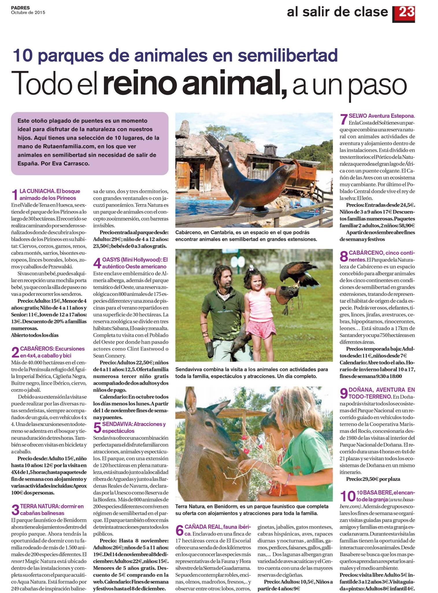 Padres y colegios ofrece 10 parques de animales de la mano de Rutaenfamilia