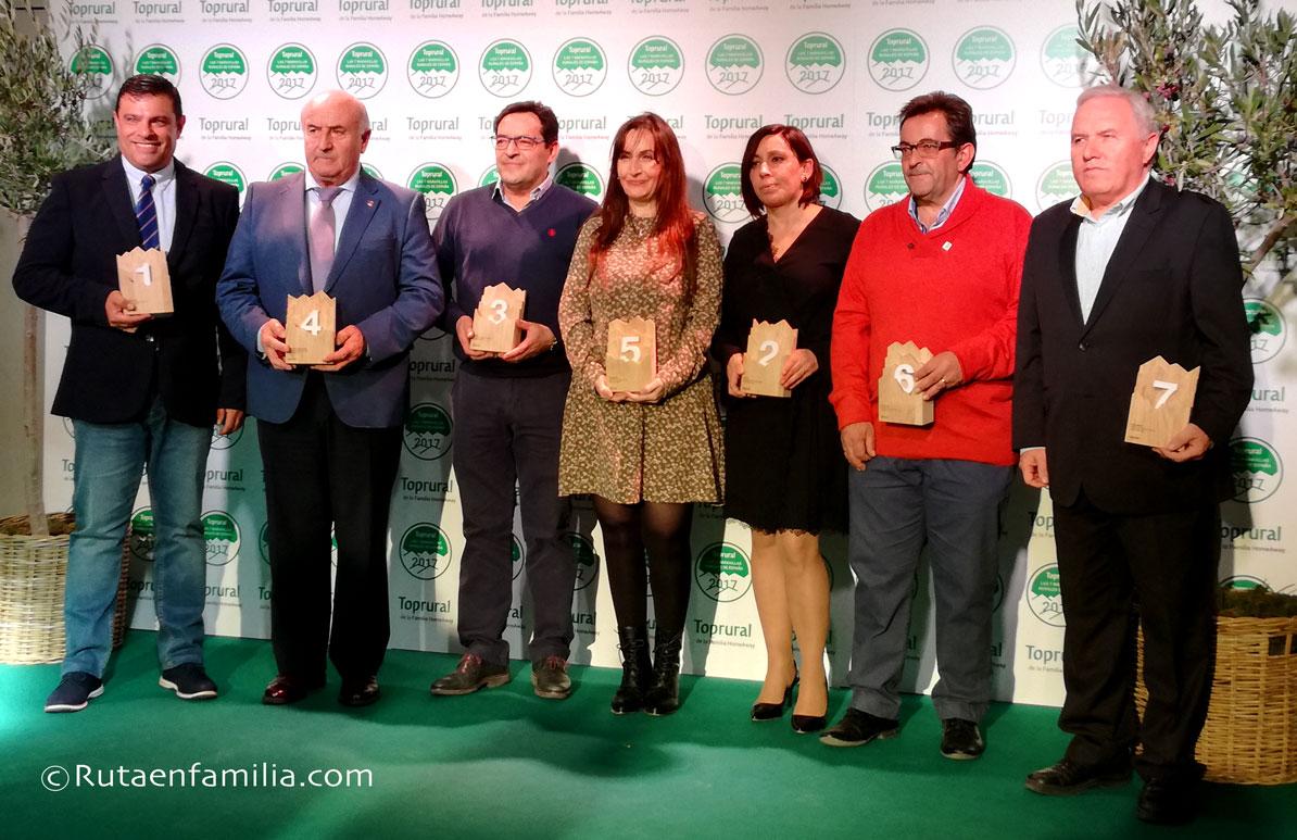 Los 7 ganadores durante la entrega de premios en Madrid.