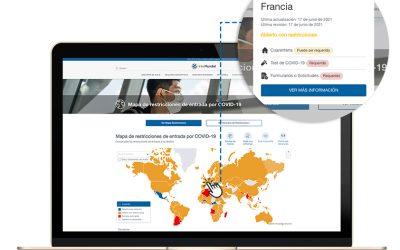 Consulta el mapa interactivo para conocer las restriciones de viaje